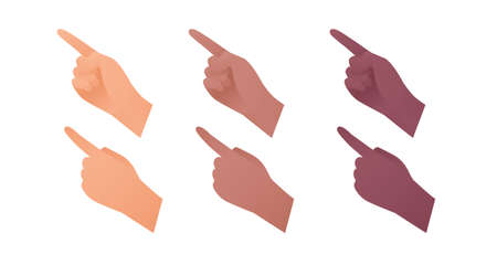 Hand gesture icon collection. Vector flat multiracial llustration set. Caucasian, african american and indian ethnic. Index finger point and touch sign. Pointing symbol. Design element for web.