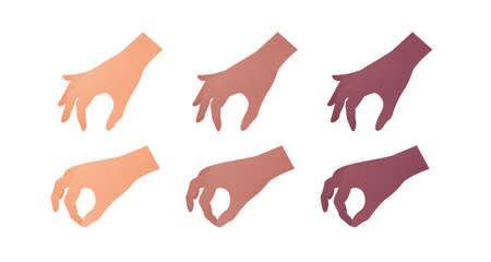Hand gesture icon collection. Vector flat multiracial llustration set. Caucasian, african american and indian ethnic. Pick up by finger gesture. Take object symbol. Design element for web.