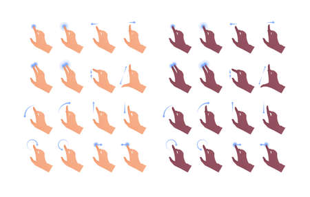 Hand gesture icon collection. Vector flat multiracial llustration set. Caucasian, african american multiracial ethnic. Finger touch screen application contol and point symbol. Design element for web.