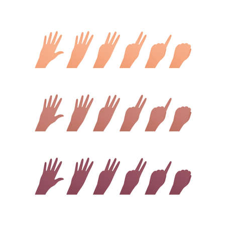 Hand gesture icon collection. Vector flat multiracial llustration set. Caucasian, african american and indian ethnic. Finger counting symbol. Back of palm. Design element for web. Vectores