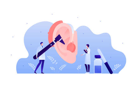 Deaf and hear aid concept. Vector flat illustration. Male and female doctor team exam human ear with hearing aid device. Medical equipment. Design element for medicine, health care.