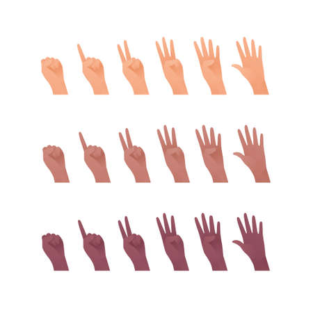 Hand gesture icon collection. Vector flat multiracial llustration set. Caucasian, african american and indian ethnic. Finger count symbol. Open palm. Design element for web. Vectores