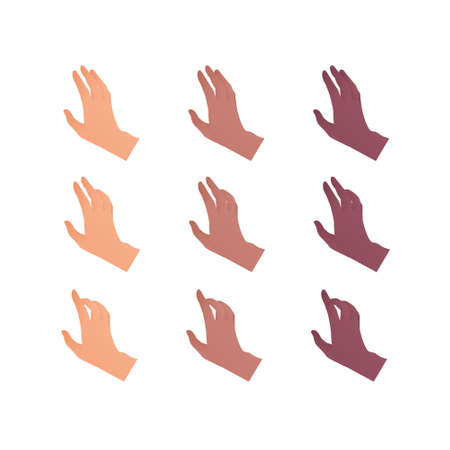 Hand gesture icon collection. Vector flat multiracial llustration set. Caucasian, african american and indian ethnic. Open palm touch and point sign. Design element for web. Vectores