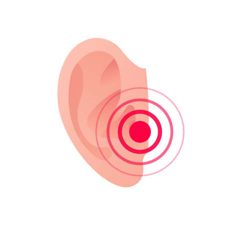 Deaf, ear pain, otitis infection concept. Vector flat illustration. Human ear with ache red dot symbol. Design element for medicine, health care.