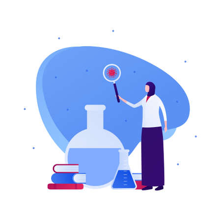 Muslim doctor and science concept. Vector flat people character illustration. Female scientist in hijab hold magnifying glass. Book, lab tube, virus symbol. Design for health care and medicine.