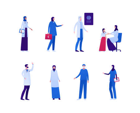 Muslim doctor collection. Vector flat people character illustration. Male and female medic team. Nurse, sugreon, paramedic, pediatrician, radiologist. Design element for health care and medicine.