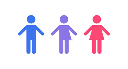 Gender equality and diversity concept. Vector flat illustration set. Blue man, pink woman and purple transgender human silhouette icon isolated on white background. Design element