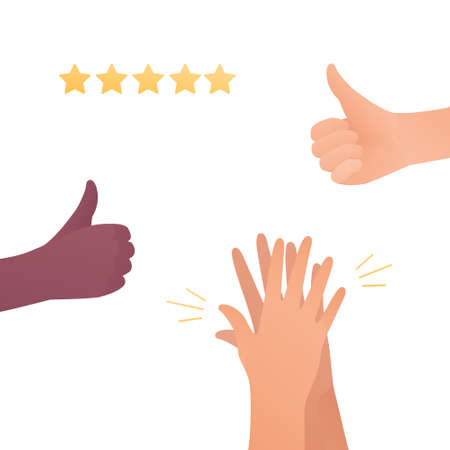 Feedback and quality review concept. Vector flat illustration. Caucasion and african american human hands. Thumbs up, clapping hands and star symbol. Design element Vectores