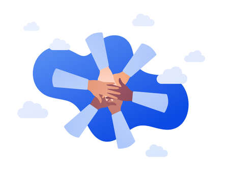People unity and diversity concept. Vector flat illustration. Multicultural circle of human hands on blue sky background. African american, caucasian and mixed ethnic. Design for business, charity.