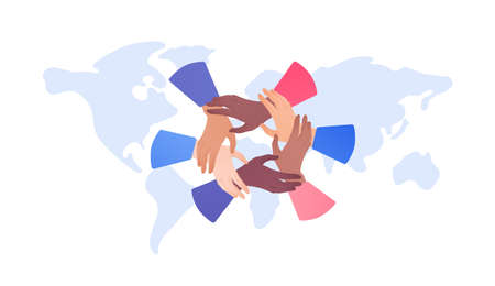People unity and diversity concept. Vector flat illustration. Multicultural circle of human hands on world map background. African american, caucasian and mixed ethnic. Design for business, charity. Vectores
