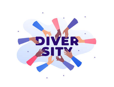 People unity and diversity concept. Vector flat illustration. Multicultural human hand holding text. African american, caucasian and mixed ethnic. Design for banner, business, charity. Vectores