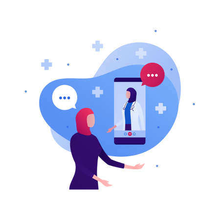 Muslim doctor and telemedicine concept. Vector flat people character illustration. Female patient in hijab call woman medic in head scarf on smartphone screen. Design for health care and medicine.