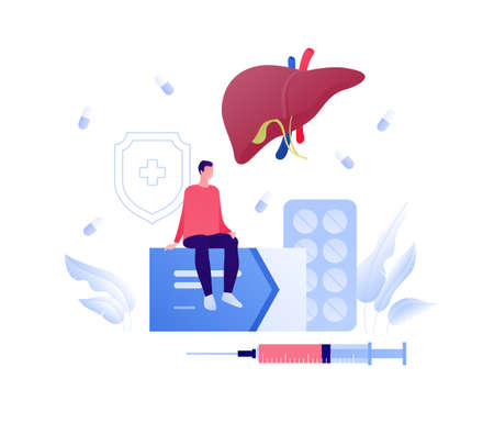 Liver disease, diagnosis and treatment concept. Vector flat people illustration. Male patient sit on box of pills. Syringe, vaccination and insulin treatment symbol. Design for health care.