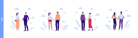 Inclusion and diverity concept. Vector flat people multiracial character illustration. Happy male and female couples standing. Caucasian, hispanic, asian and african american ethnic.