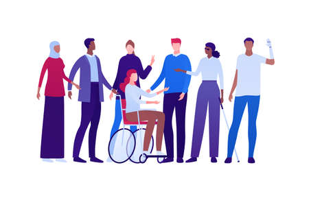 Inclusion and diverity concept. Vector flat people character illustration. Multicultural and multinational happy male and female crowd. Blind with stick, woman in wheelchair, man with prosthetic arm.