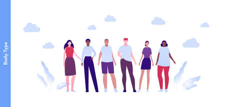 Inclusion and diverity concept. Vector flat people character illustration. Happy male and female group of different body type and size in casual outfit. Asian, african american, caucasian ethnic.