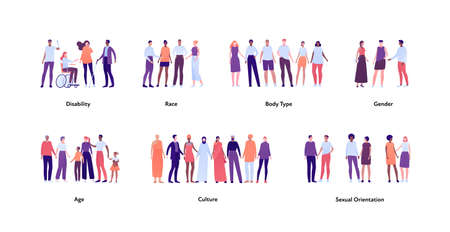 Inclusion and diverity concept. Vector flat people illustration. Multicultural, multiracial happy male and female character set. Different age, gender and body type. Handicap person.