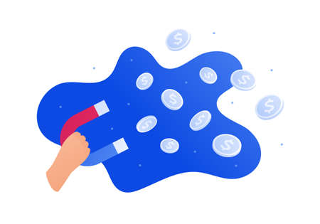 Business success, advertisment and smm concept. Vector flat illustration. Hand hold magnet to attract dollar coin money symbol. Design element. Vectores