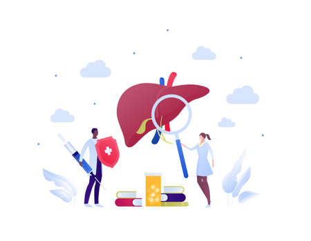 Liver disease, diagnosis and treatment concept. Vector flat people illustration. Multiethnic male and female doctor team. Syringe, magnifier, book, medication pills symbol. Design for health care.
