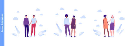 Inclusion and diverity concept. Vector flat people multiracial character illustration. Happy male and female lgbtq couples holding hands. Homosexual relationship and friendship.