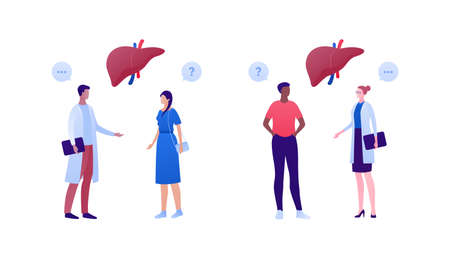 Liver disease, diagnosis and treatment concept. Vector flat people illustration. Multiethnic male and female character. Patient and doctor consultation. Design for health care.