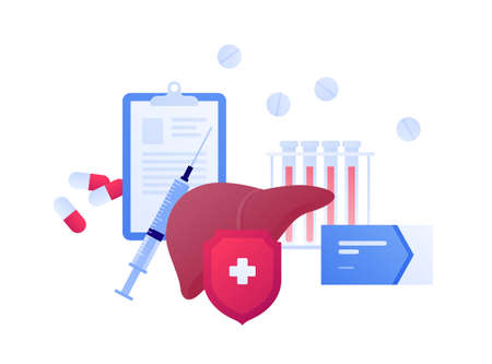 Liver disease, diagnosis and treatment concept. Vector flat people illustration. Syringe, shield protection, blood test and pills symbol. Design for health care. Vectores