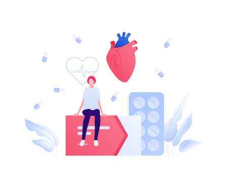 Cardiology and heart disease concept. Vector flat people illustration. Female patient sit on box of pills. Heartbeat cardiogram sign. Treatment and recovery symbol. Design for health care. Vectores
