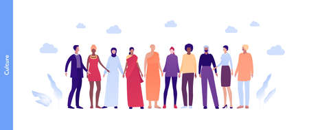 Inclusion and diverity concept. Vector flat people illustration. Multicultural and multinational happy male and female crowd in national outfit. Buddhist, female in sari, arab, woman in hijab.