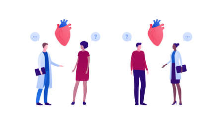 Cardiology and heart disease concept. Vector flat people illustration. African american women and caucasian men. Patient and doctor appointment. Design for health care, checkup. Vectores