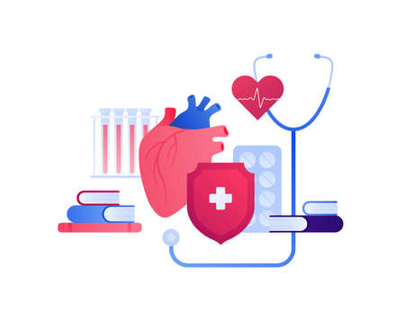 Cardiology and heart disease concept. Vector flat people illustration. Heartbeat, pill, blood test, book, stethoscope sign. Treatment, shield protection and recovery symbol. Design for health care.