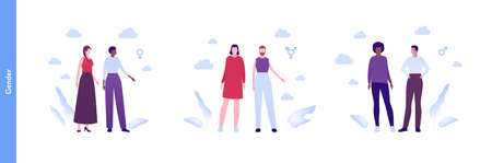 Inclusion and diverity concept. Vector flat people character illustration. Happy male, female and transgender lgbtq character in casual outfit standing with gender icon. Vectores