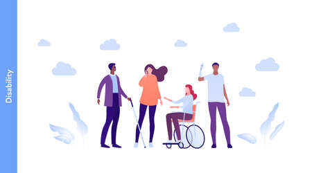 Inclusion and diverity concept. Vector flat people character illustration. Happy male and female group of different ethnic. Blind with stick, woman in wheelchair, man with prosthetic arm and deaf.