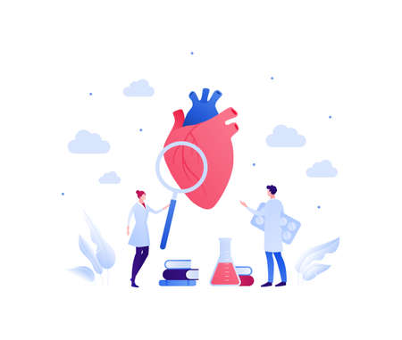 Cardiology and heart disease concept. Vector flat people illustration. Couple of male and female doctor scientist. Magnifier glass, book, lab tube sign. Design for health care, science, education
