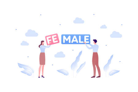 Inclusion and diverity concept. Vector flat people character illustration. Woman change word male to female. Couple hold text.