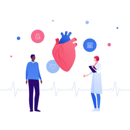 Cardiology and heart disease concept. Vector flat people illustration. African american patient and asian female doctor talk. Heartbeat sign. Checkup, healthy lifestyle symbol. Design for health care.