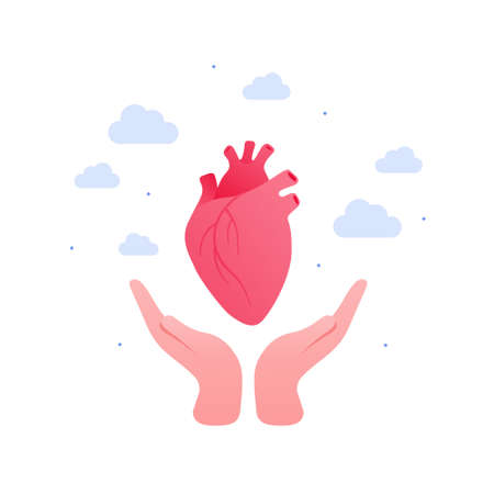 Cardiology, heart disease and organ donation concept. Vector flat illustration. Human hand holding anatomical human heart symbol on sky background. Design for health care, science, education Vectores