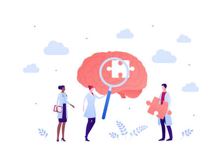 Brain research and mental disease study concept. Vector flat people illustration. Doctor scientist team with magnifier glass and puzzle. Male and female character. Design for health care and science.