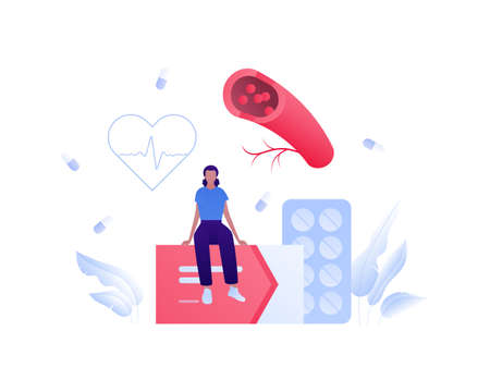 Circulatory system disease concept. Vector flat medical people illustration. Female character sitting on box of pill. Blood vessel, heartbeat, and medicine symbol. Design for health care, pharmacy.