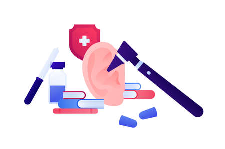 Otolaryngology consultation and deaf study concept. Vector flat medical illustration. Ear, otoscope, lab equipment, books and red shield with cross symbol. Design for health care, pharmacology.