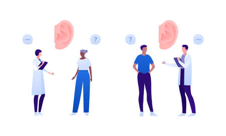 Otolaryngology consultation and deaf aid concept. Vector flat people illustration set. Ear deafness and otitis symbol. Doctor and patient checkup. Senior, young adult person. Design for health care  イラスト・ベクター素材