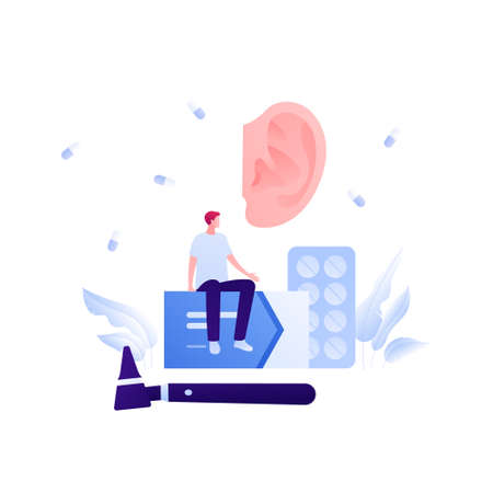 Otolaryngology consultation and deaf study concept. Vector flat medical illustration. Ear, otoscope, medicine symbol. Patient sitting on box of pill. Design for health care, pharmacology.