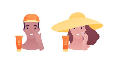 Sun screen protection cream concept. Vector flat illustration. Tan male and female head avatar in hat apply suncream to face. Design for cosmetic industry and dermatology.