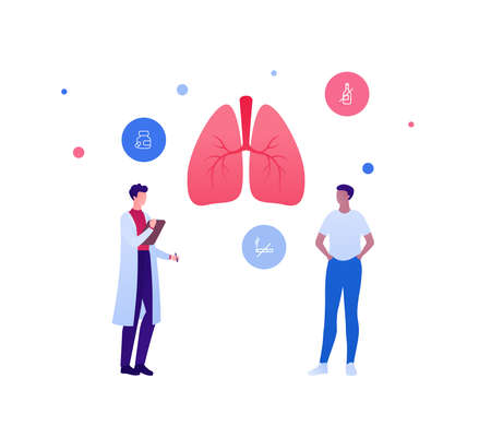 Respiratory system disease treatment and healthcare checkup concept. Vector flat medical people illustration. Human lung and no smoking sign. Doctor and patient character. Design for health care.  イラスト・ベクター素材