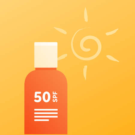 Sun screen protection cream concept. Vector flat illustration. Orange color bottle of suncream on yellow background with sun icon. Square composition. Design for cosmetic industry and dermatology.