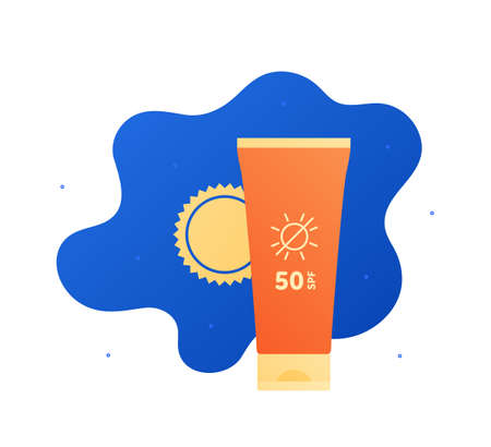 Sun screen protection cream concept. Vector flat illustration. Yellow and orange color bottle of suncream on blue sky background with sun. Design for cosmetic industry and dermatology.