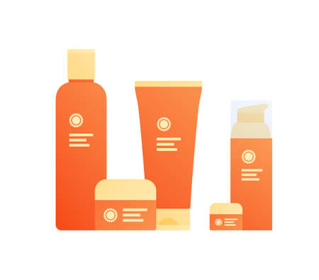 Sun screen protection cream concept. Vector flat illustration, Set of horizontal jar, tube and bottle of summer suncream. Yellow and orange color. Design for cosmetic industry and dermatology.  イラスト・ベクター素材