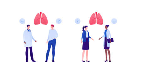 Respiratory system disease treatment and healthcare checkup concept. Vector flat medical person illustration set. Human lung sign. Male and female doctor and patient character. Design for health care.