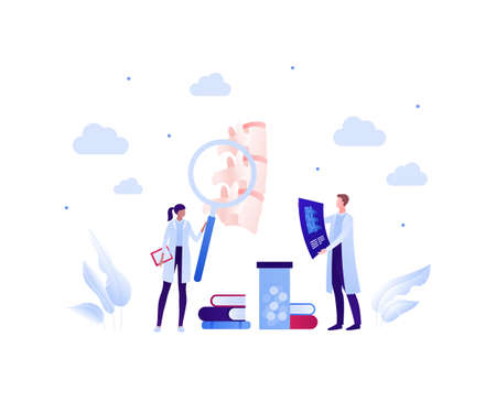 Backache, spine disease study concept. Vector flat healthcare illustration. Male and female doctor scientist team. Vertebra, medicine, book and magnifier glass symbol. Design for health care.