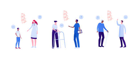 Backache and spine disease concept. Vector flat healthcare illustration set. Doctor and patient appointment. Child, female adult with walker and elderly man. Design for health care checkup.