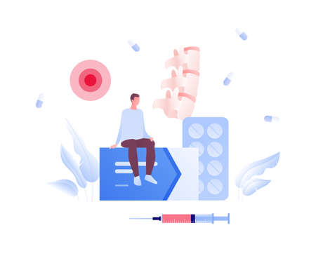 Backache and spine disease concept. Vector flat healthcare illustration. Male patient sitting on box of pill. Vertebra, syringe injection and sport symbol. Design for health care.